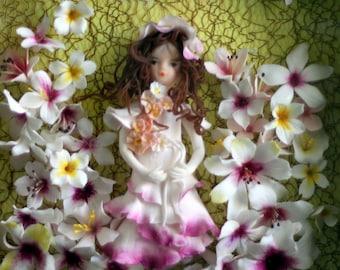 "Clay bride, flower, clothes, unique art, handmade 9""x9"""