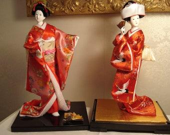 "Chinese Made Geisha Doll and Japanese Bride Doll, Pair , 10"""