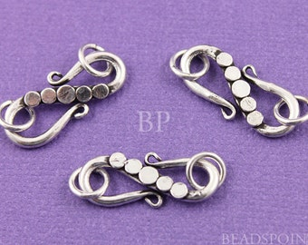 Bali Sterling Silver Heavy Duty S Hook Clasp w/ 2 Rings, Flat Circles Detail, Light Oxidation, Lovely Beading Accent, (2 Pieces) BA5429