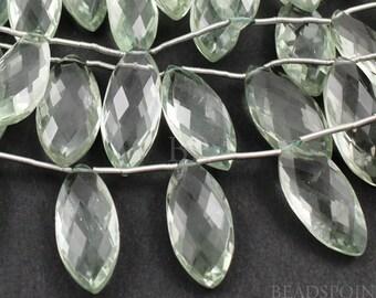 Natural ''NO TREATMENT'' Green Amethyst Medium Marquise Beads, AAA Quality Gemstones  8x15 - 9x19mm, 1 Strand, (GAMmedmarq)