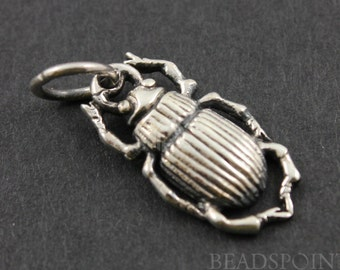 Sterling Silver Bug  Charm /  Pendant with Open Jump Ring, Shiny Finish, Sweet Jewelry Component Finding, (SS/CH7/CR19)