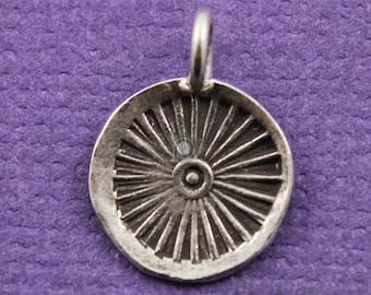 2 Pieces, Thai Hill Tribe Round Charm,  Karen Silver Round Charm, Silver Round Charm, Thai Silver Round Charm, Round Charm, (HT10013)