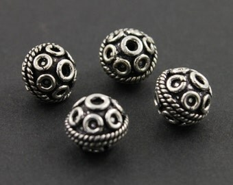 Bali Sterling Silver Fancy Round Bead, Beautiful Detailed Pattern, 8mm Antique Oxidized Finish, 1 Piece (BA-5075)