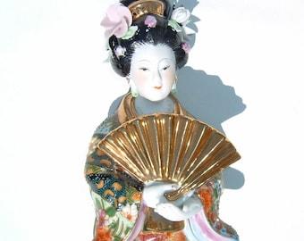 Geisha Girl Japanese Porcelain Figurine Lavishly Decorated with Fan