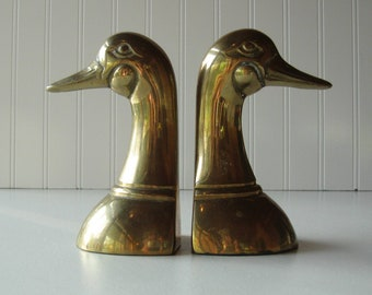 Brass Duck Bookends, Duck Heads, Set of Two, country, cottage, rustic, nature