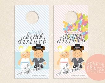 Printable Custom Vinylmation Inspired Disney Bride & Groom Honeymoon Door Hanger