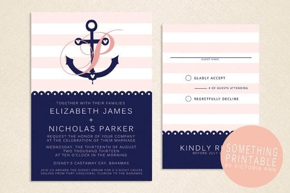 Cruise Wedding Invitations: Printable Cruise Line Inspired