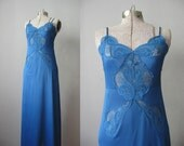 60s Lace Slip / Blue Vintage 1960s Floor Length Slip / Something Blue Wedding Lingerie / Size Small S Bust 32