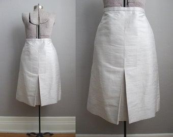 1960s Vintage Skirt Ivory Silk 60s Skirt Front Pleat / Large XL