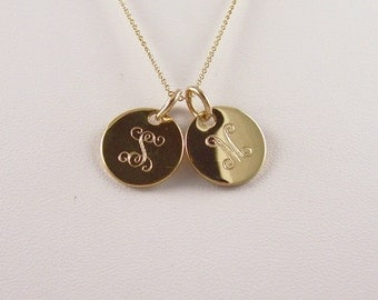 """Gold Double Mini Initial Monogram Necklace 2- 5/8"""" Gold filled discs Personalized and Engraved"""