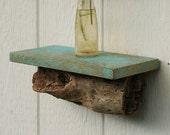 "Driftwood distressed shelf - 11.5 x 5.5"" driftwood and reclaimed wood faux-patina shelf"