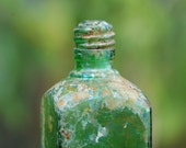 HOLD for Marie Claire - vintage opalescent green glass bottle from Hawaii - shabby-chic vase with opalescence