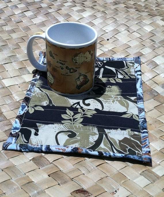 Hawaiian Mug Rug tropical mini placemat candle mat gift