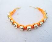 Neon Orange Swarovski Friendship Bracelet - jewelry, macrame, birthday, best friend, new year, christmas, colored, fashion,