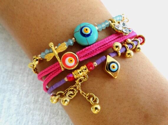 Ethnic authentic bracelets sets, turkish jewelry, arabic, evil eye bracelet, oriental accessories, mother jewelry, best friend birthday,