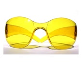 Yellow Wrap Around Sunglasses Lemon Zest 90s Vintage Fly Shades, Burning Man Goggles Glasses Unisex Men Women Sunglasses