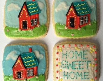 Housewarming / Home Sweet Home Needlepoint Sugar Cookie with Buttercream Frosting