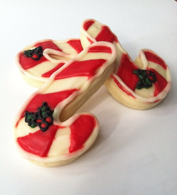 Candy Cane / Holly Sugar Cookies with Buttercream Frosting