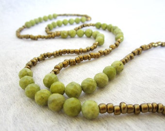 Bead necklace, Long Bead necklace, Bohemian necklace, green Agate necklace, muse411