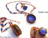 Statement Wire Wrapping Pendant and Adjustable Ring Copper and Glass Necklace Wire Jewelry Set