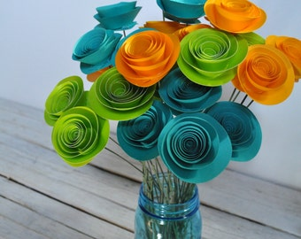 24 Bright Paper Flowers on Stems- Bouquet of Paper Flowers-  Home Decor