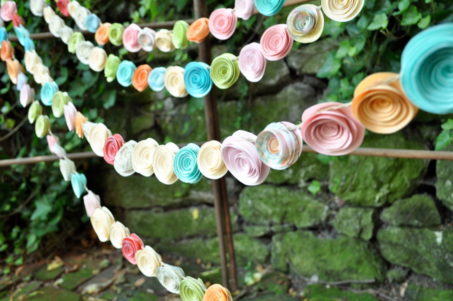 wedding garland paper flowers cream blue pink green peach