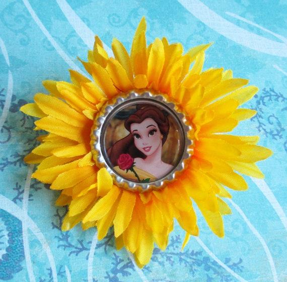Belle hair bow Princess flower headband bottle cap hair clip