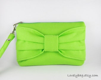 SUPER SALE - Lime Green Bow Clutch - iPhone 5 Wallet, iPhone 5 Wristlet, Cell Phone Wristlet, Cosmetic Bag, Zipper Pouch - Made To Order