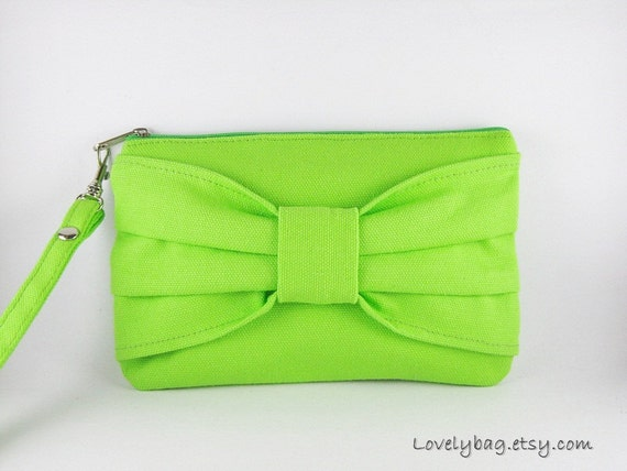 SUPER SALE - Lime Green Bow Clutch - Bridal Clutches, Bridesmaid Clutch, Wedding Gift, Cosmetic Bag, Camera Bag,Zipper Pouch - Made To Order