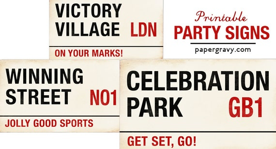 PRINTABLE London Street Signs set of three