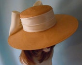 Large Ivory Straw Picture Hat with Off White Satin Band and Bow