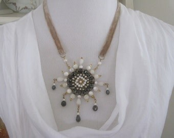 Crystal and Pearl Starburst Necklace