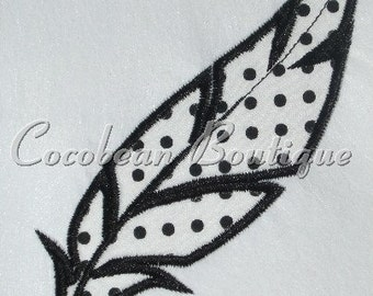 Feather embroidery applique