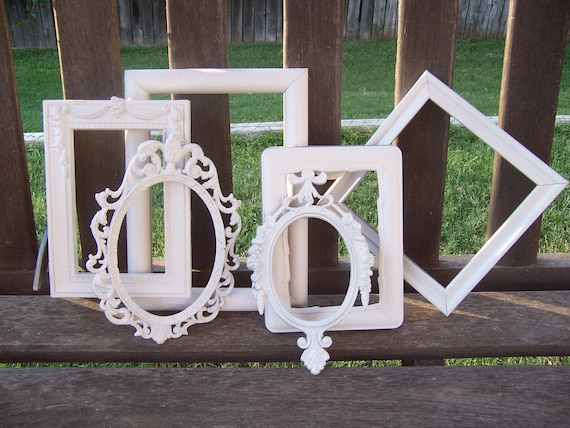 SALE Vintage Shabby White Picture Frames