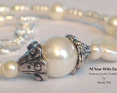 Pearl Anklet, white anklet, adjustable anklet, bridal jewelry, wedding jewelry, mothers day, womans anklet,