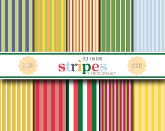 Digital Scrapbook Papers Stripes