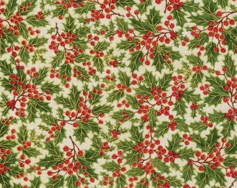 Natures Holiday by Timeless Treasures CM8786 Tossed Holly Ivory 1 yard