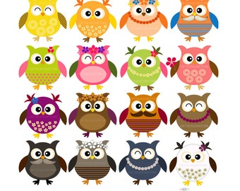 16 owls fashion of 4 season Digital clip art for Personal and Commercial use - INSTANT DOWNLOAD