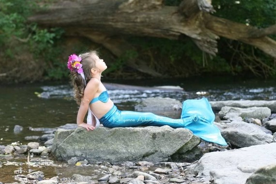 Mermaid Costume - Blue Mermaid Tail for Little Girls 8-10