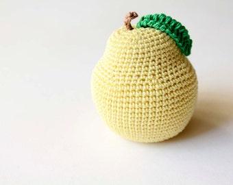 Crochet Yellow  Toy Pear for Children, Baby - Crochet Fruit