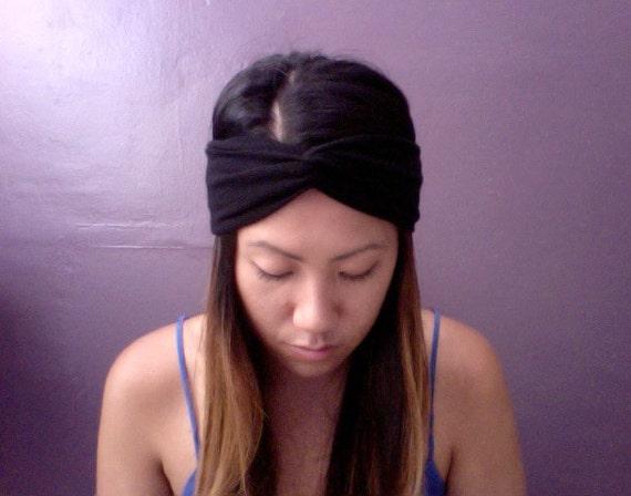 LAST Black Stretch Lightweight Knit Turban Headband Turband
