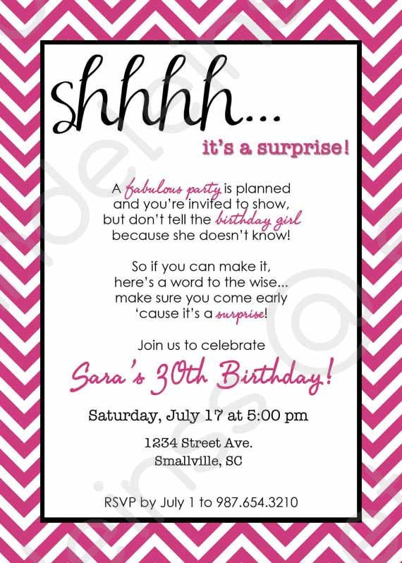 Surprise birthday party invitation template stopboris Choice Image