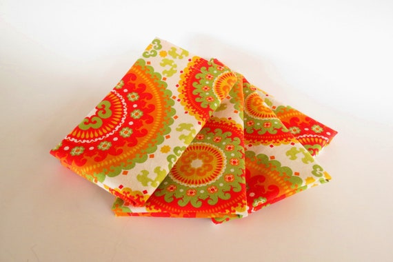 Circles Cloth Napkins - Modern Retro Set of 4 Napkins - Cotton Large Table Napkin - Red, Olive Green, Orange, Gold, Ready Ship