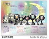 Small Calendar, New year, 2013, 6 x 4.5 inches, Cats, Black cats, Birds