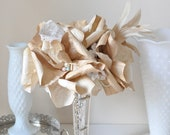 Tea stained paper flowers, Tea dyed poppy, paper poppy, paper flowers, paper flower bouquet of pearls and poppy
