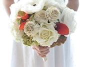 Rustic romance Paper flower bouquet, fabric flower bouquet, Fall wedding with mushroom, twine, orange callas and green hydrangea