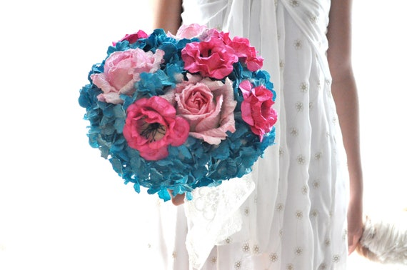 Bouquet of paper flowers. Teal and hot pink wedding flowers, Aqua Paper flower bouquet, Vibrant wedding flowers