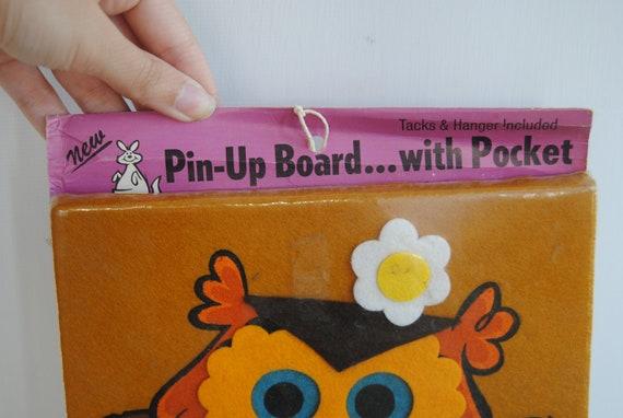 1960s Owl Pin Board - Felt Cork Board Bulletin Board Flowers Orange Kitschy Collectable Organizer