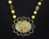 Yellow Art  Nouveau Flower Cabochon Necklace Mucha Antique Bronze Romantic Shabby Chic