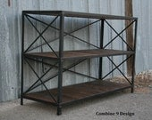 Vintage Industrial Shelving Unit.  Steel & Reclaimed Wood.  Mid Century Modern.  Rustic, Urban, Bookcase. Loft Decor.